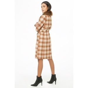 Forever 21 Jackets & Coats - Forever21 Faux Fur Plaid Wrap Coat